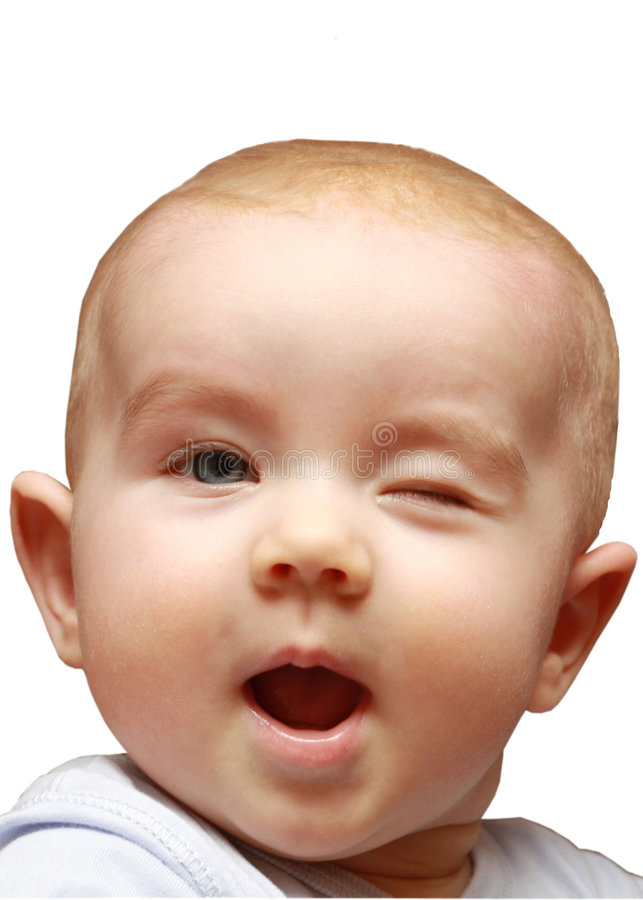 Wink funny little girl royalty free stock image