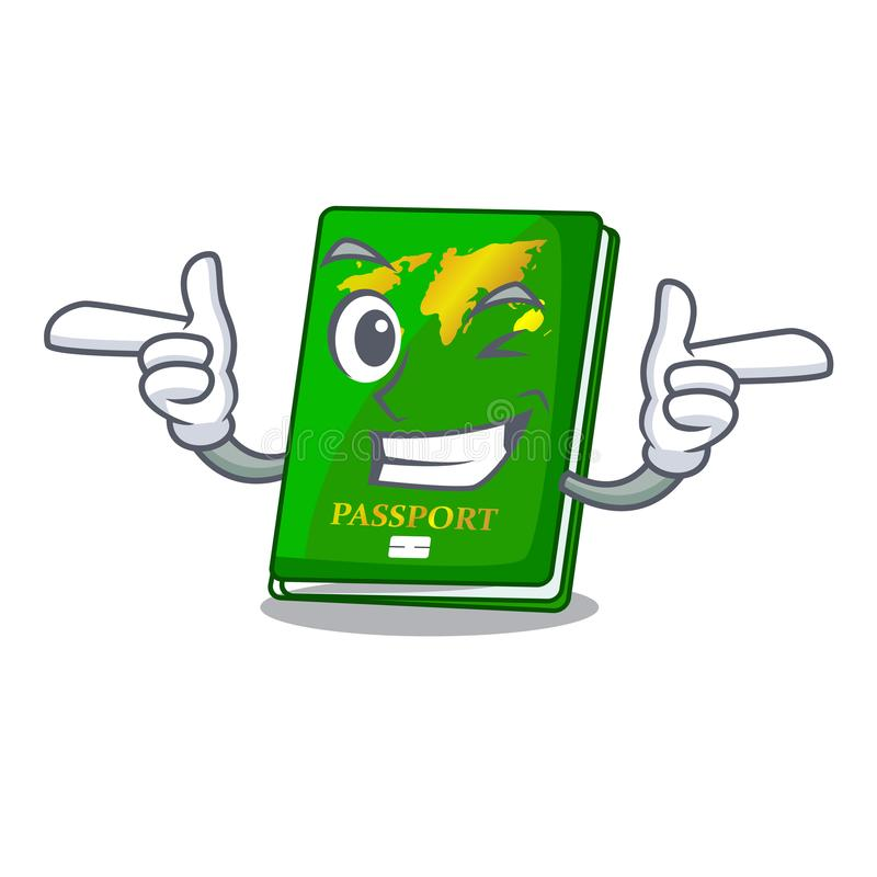 Wink green passport in the cartoon shape. Vector illustration royalty free illustration