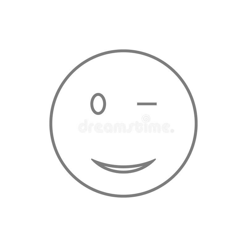 Wink Smiley icon. Element of cyber security for mobile concept and web apps icon. Thin line icon for website design and. Development, app development on white stock illustration