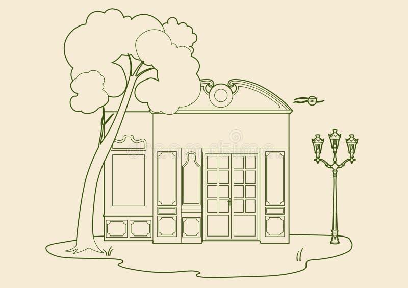 Winkel achter een boom vector illustratie