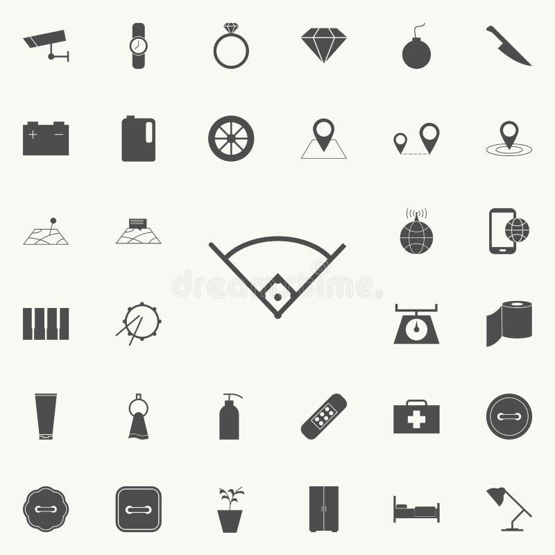 Winkel in der Baseballikone Ausführlicher Satz minimalistic Ikonen Erstklassiges Qualitätsgrafikdesignzeichen Eine der Sammlungsi lizenzfreie abbildung