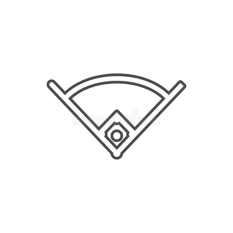 Winkel in der Baseballikone Element der Internetsicherheit für bewegliches Konzept und Netz Appsikone Dünne Linie Ikone für Websi lizenzfreie abbildung