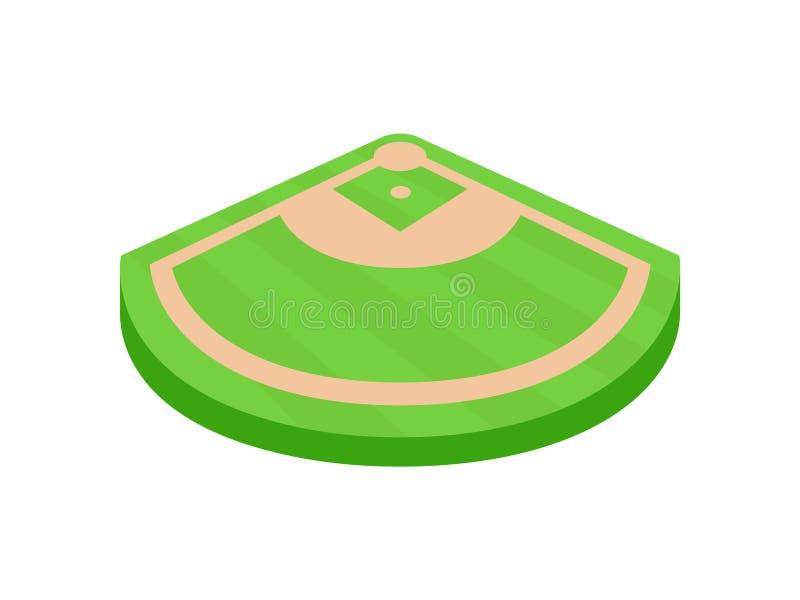 Winkel des Baseballfeldes Ansicht von oben Vektorabbildung auf wei?em Hintergrund stock abbildung