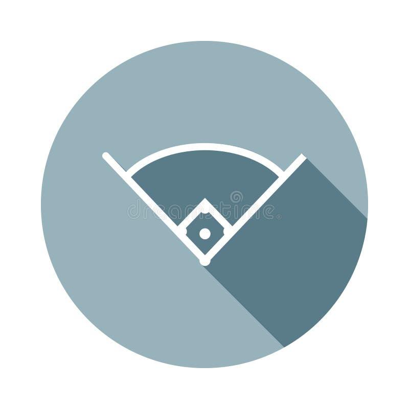 Winkel im baseballicon im flachen langen Schatten Ein der Netzsammlungsikone kann für UI/UX verwendet werden lizenzfreie abbildung