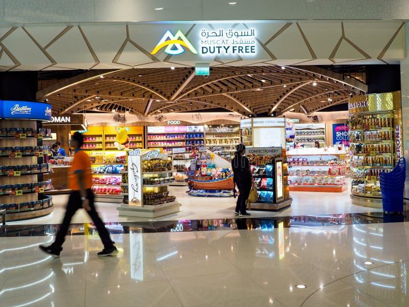 Winkel met vrijstelling van rechten in de Internationale Luchthaven van Mascat, Oman stock foto's