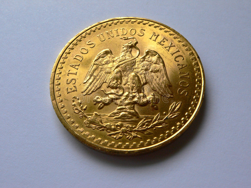 Winkel mit 50 Pesos Gold stockbild