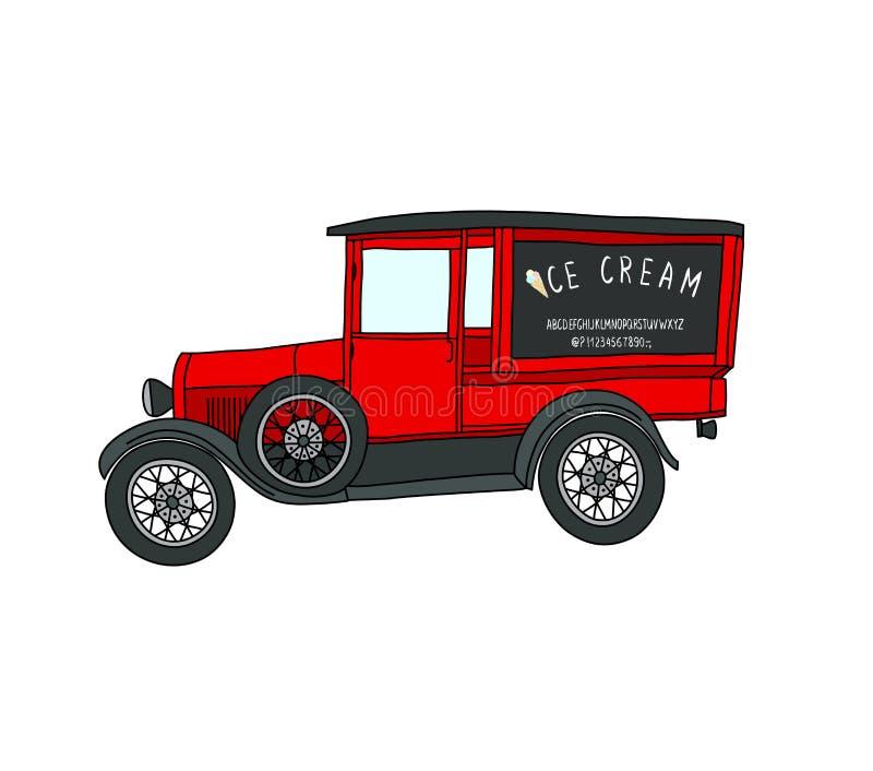 Winkel op wielen adverterende auto, rode uitstekende auto vector illustratie