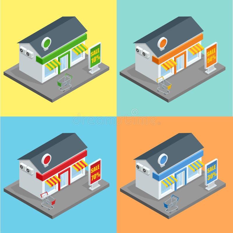 Winkel, supermarktbuitenkant Winkelsopslag en van supermarktgebouwen vlakke decoratieve pictogrammen geplaatst geïsoleerde 3d vec vector illustratie