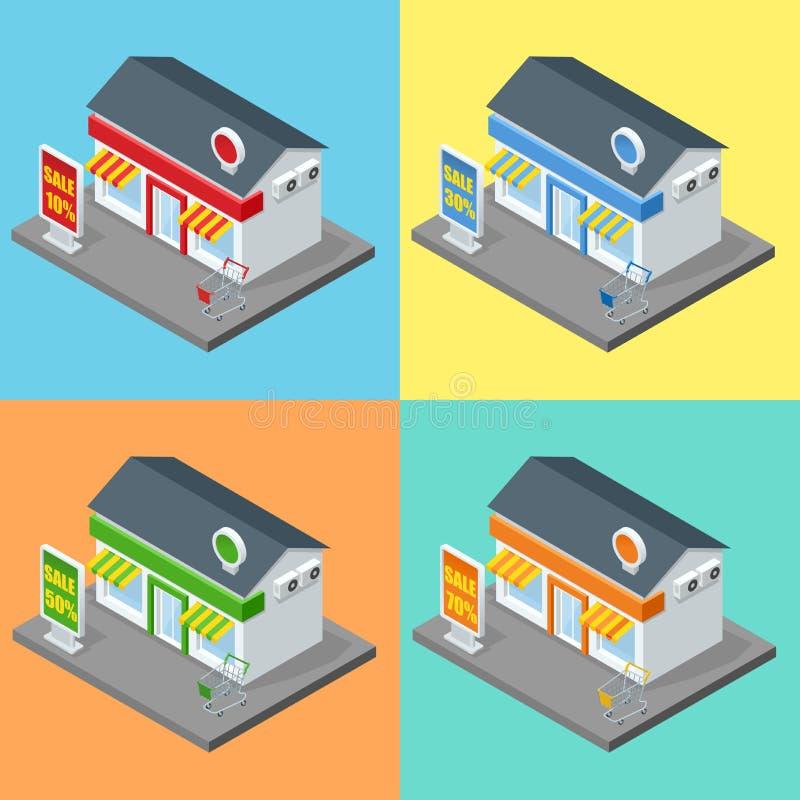 Winkel, supermarktbuitenkant Winkelsopslag en van supermarktgebouwen vlakke decoratieve pictogrammen geplaatst geïsoleerde 3d vec stock illustratie