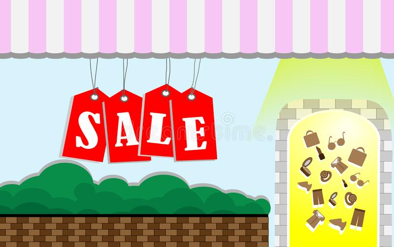 Winkel voor meer voorzien goederen, met het rood van het verkoopteken Bannervector Kan worden gebruikt om stickers, adreskaartjes stock illustratie