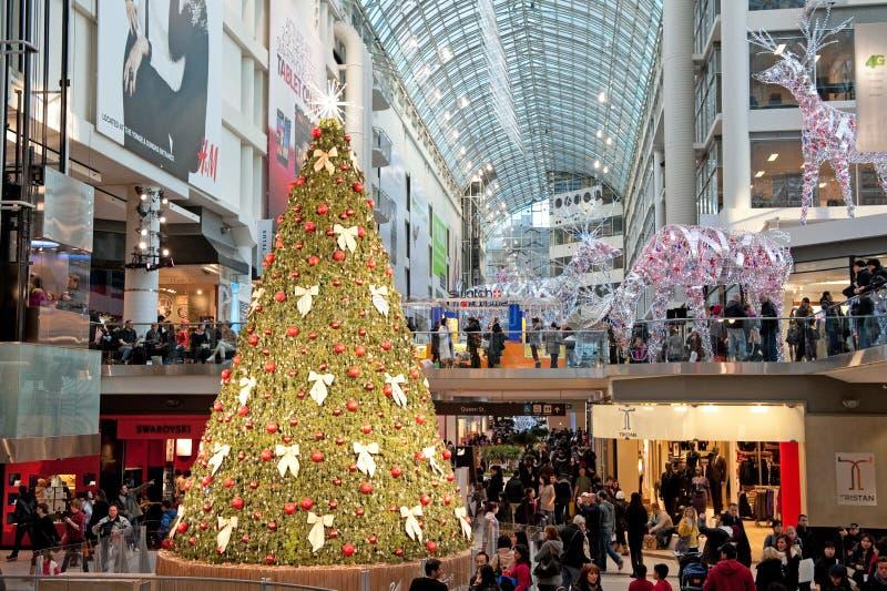 Winkelcomplex dat voor Kerstmis wordt verfraaid royalty-vrije stock fotografie