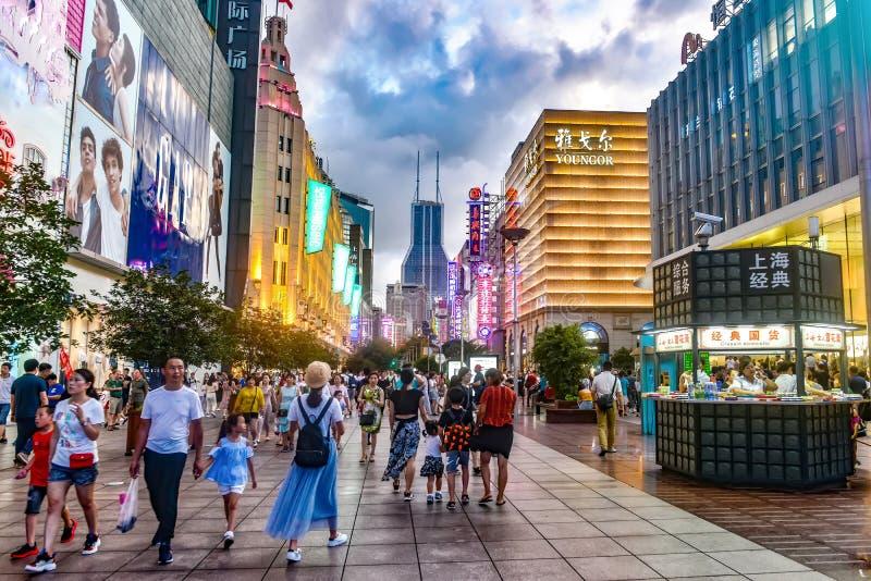 Winkelcomplex, Nanjing-Road Gang, Shanghai stock foto's