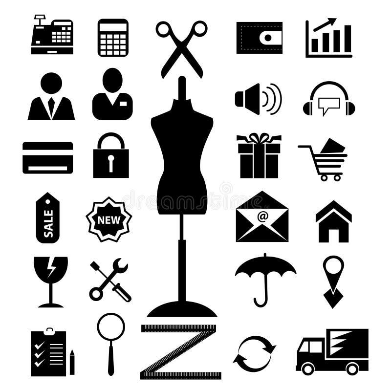 Winkelen en de elektronische pictogrammen geplaatste van het handelsweb de roosterversie, dient ook beschikbaar in galerij in royalty-vrije illustratie