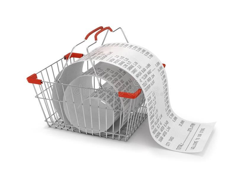 Winkelend backet met opslagdocument ontvangstbewijs, vector illustratie