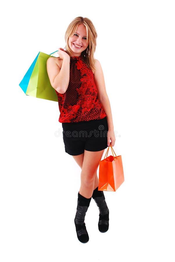 Winkelend meisje stock foto