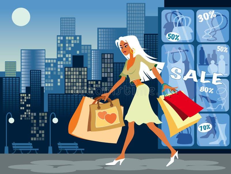 Winkelend Meisje stock illustratie