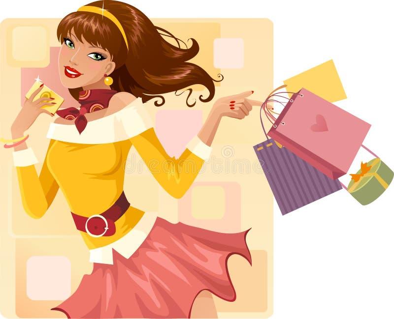 Winkelend meisje vector illustratie