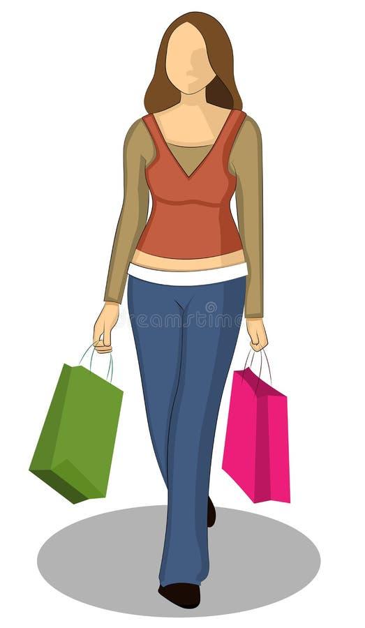Winkelend meisje - kleurensilhouet vector illustratie