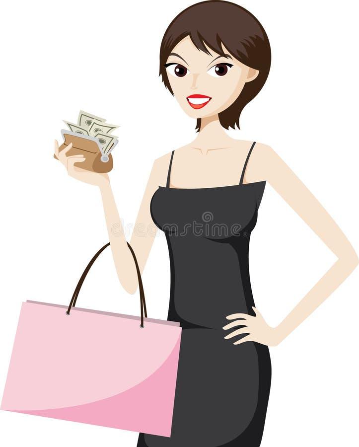 Winkelend meisje met geld in een beurs stock illustratie