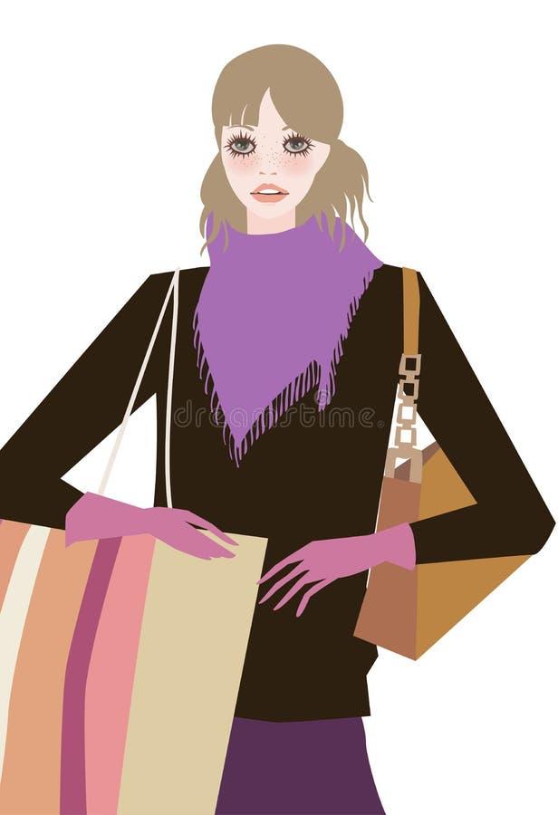 Winkelend meisje met het winkelen zak royalty-vrije illustratie