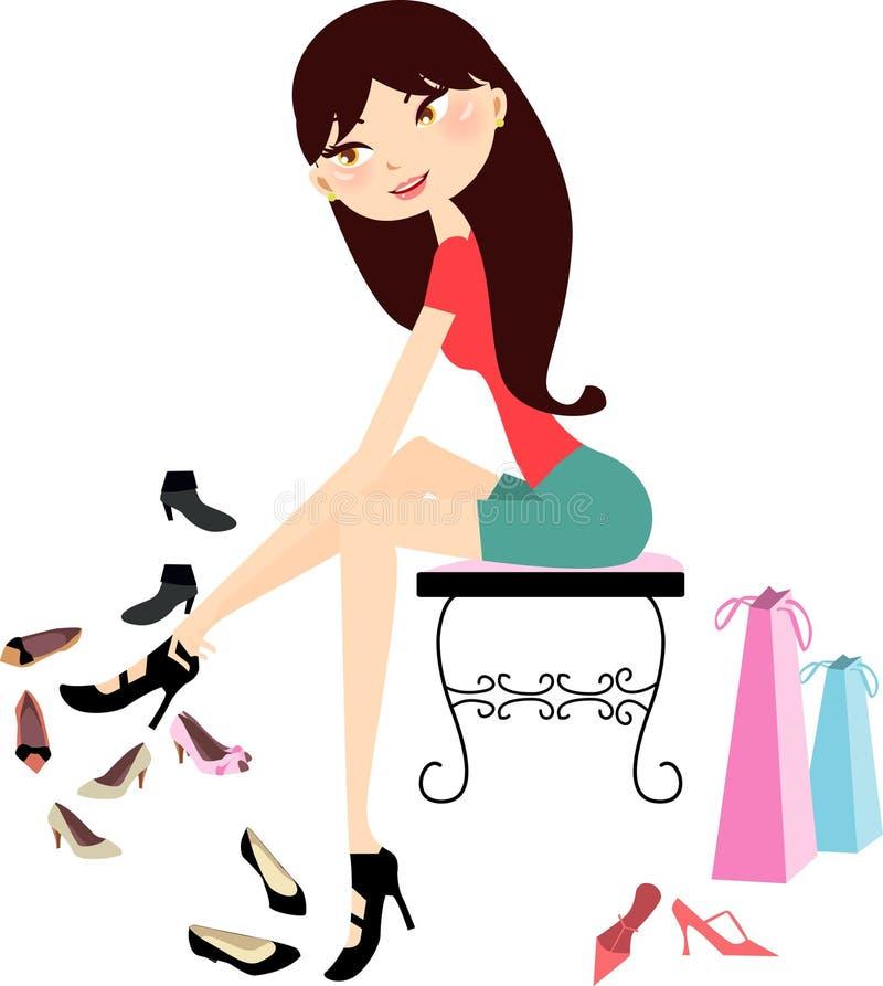 Winkelend meisje in schoenopslag vector illustratie