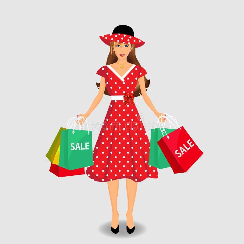 Winkelend meisje Vectorillustratie, klemart. stock illustratie