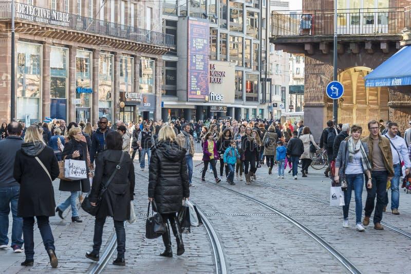 Winkelend in Straatsburg, Frankrijk stock foto's