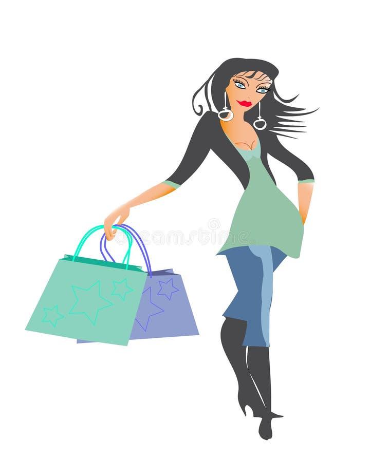 Winkelende Dame vector illustratie