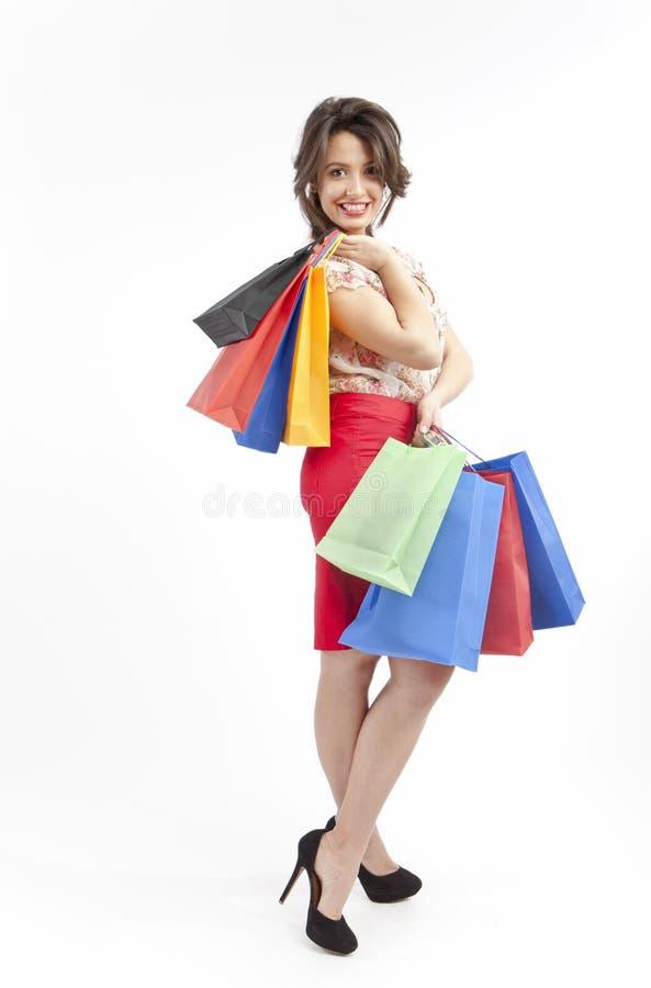 Winkelende dame stock foto