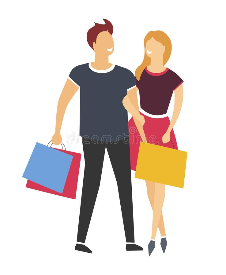 Winkelende man en vrouw of paar met zakken of pakken geïsoleerd pictogram vector illustratie