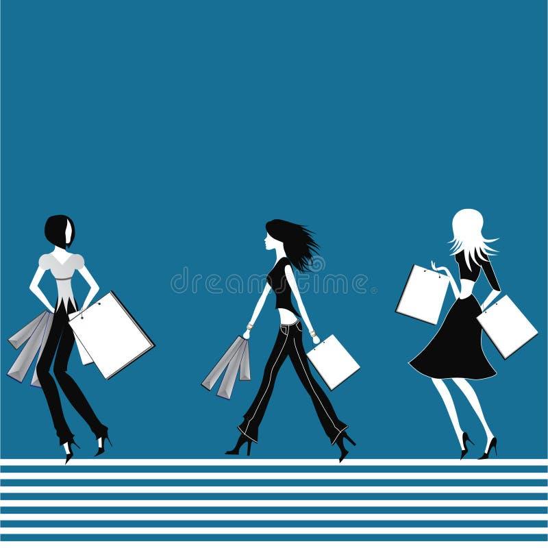 Winkelende meisjes. vector illustratie