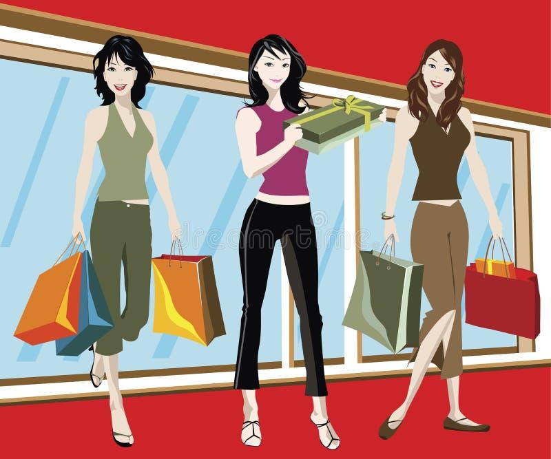 Winkelende meisjes stock illustratie