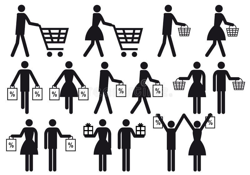 Winkelende mensen, vectorpictogramreeks vector illustratie