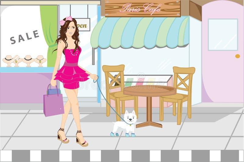 Winkelende vrouw royalty-vrije illustratie
