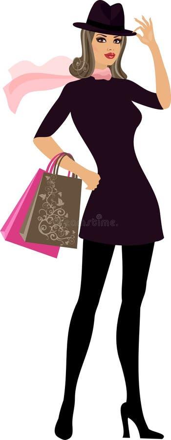 Winkelende vrouw stock illustratie