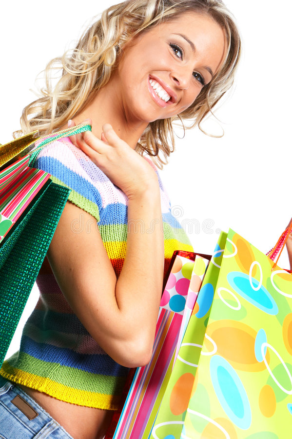 Winkelende vrouw stock foto