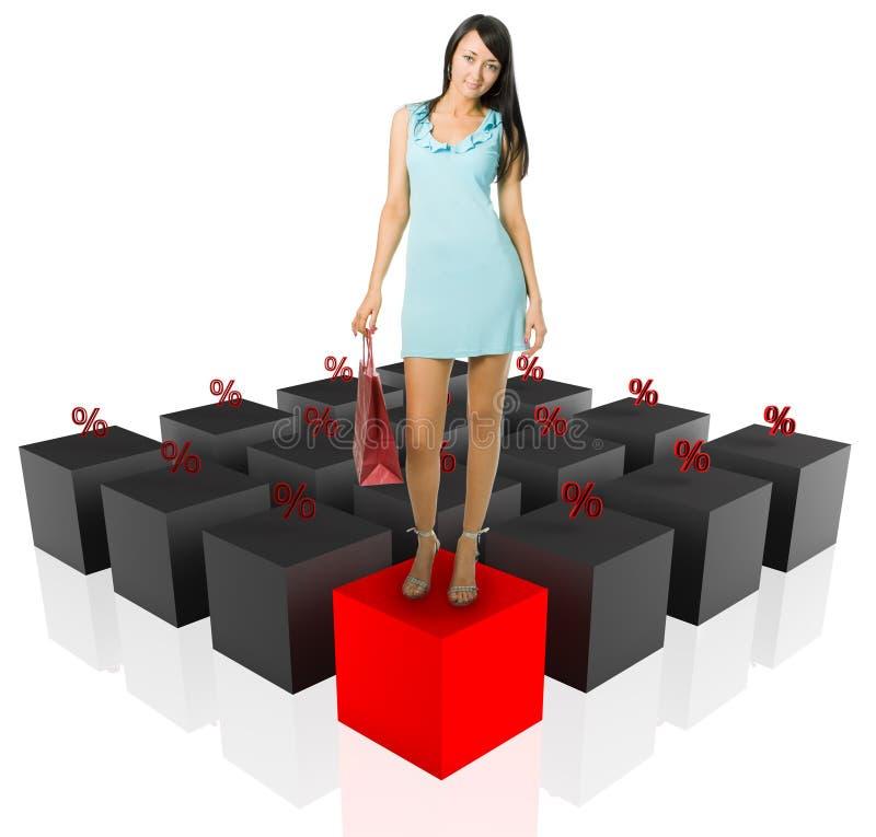 Winkelende vrouw en grafiekpercenten stock afbeelding
