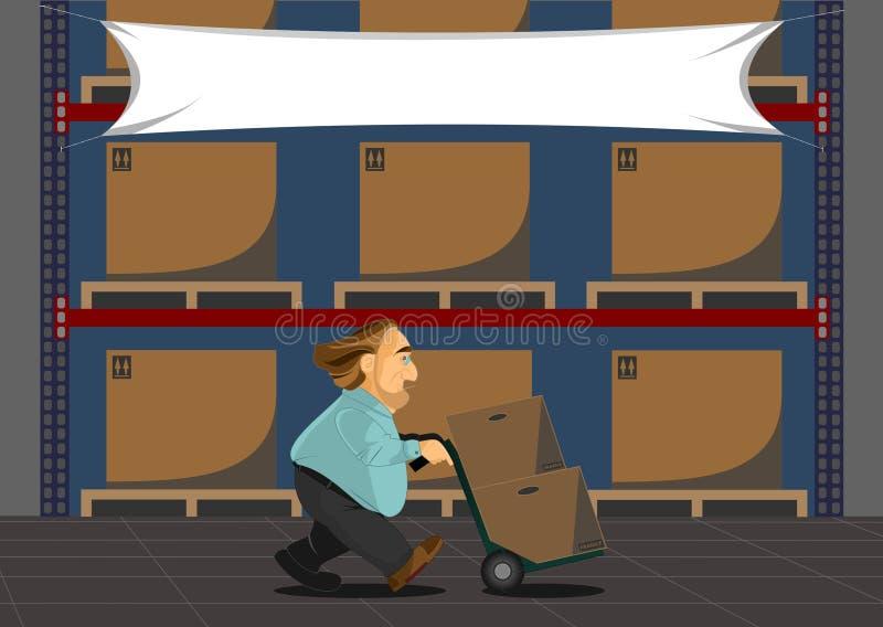 Winkelier die in de Verkoop van een Pakhuis werkt vector illustratie