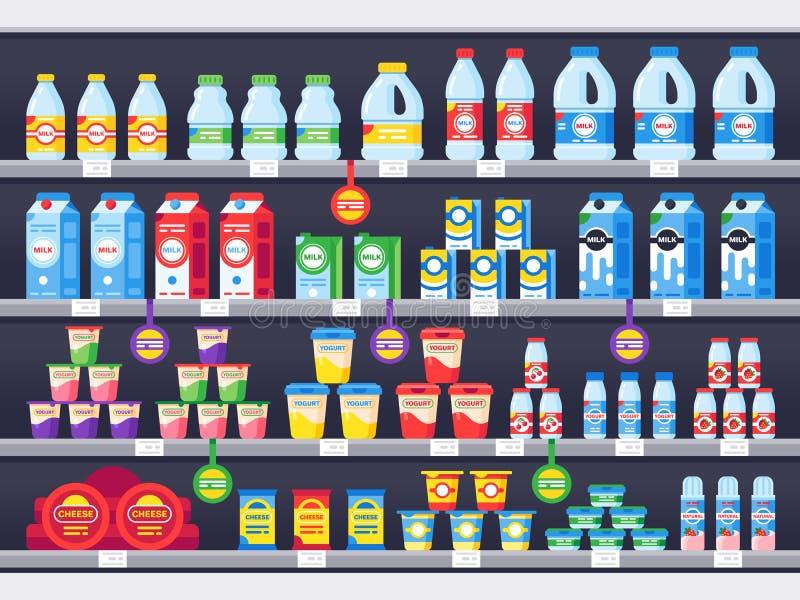 Winkelplank met zuivelproducten De zuivelplanken van de kruidenierswinkelopslag, de supermarktshowcase van de melkfles en de vect stock illustratie