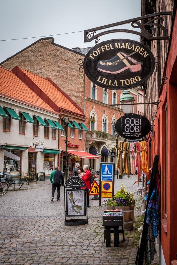 Winkels bij het littevierkant in Malmoe, Zweden royalty-vrije stock fotografie
