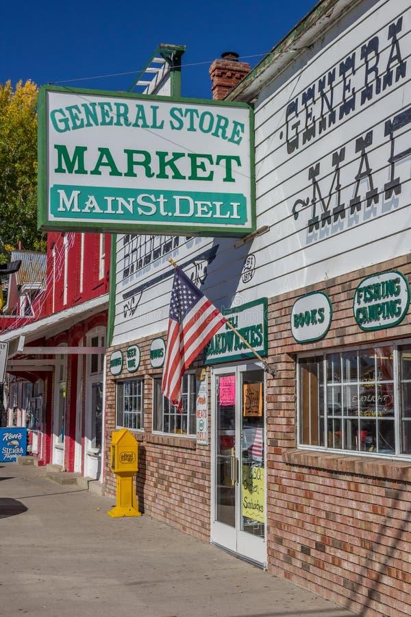 Winkels bij hoofdstraat Bridgeport, Californië royalty-vrije stock afbeelding