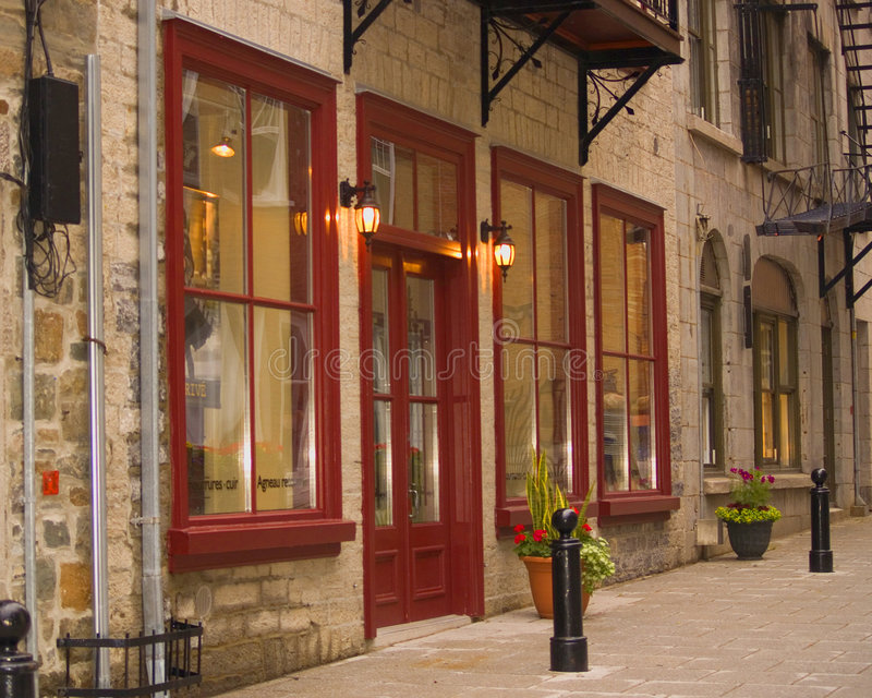 Winkels in de Oude Stad van Quebec, Canada stock fotografie