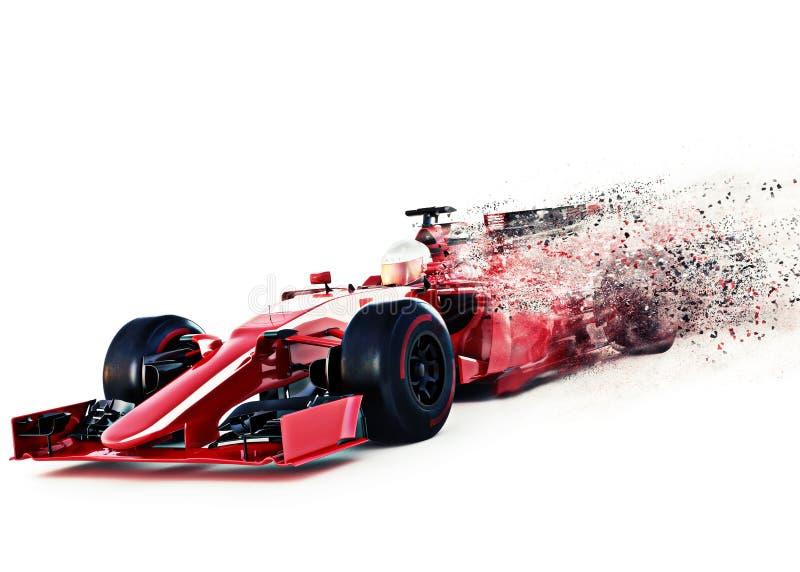 Winkelsicht der roten Motorsportrennwagenfront, die auf einen weißen Hintergrund mit Geschwindigkeitsstreuungseffekt beschleunigt lizenzfreie abbildung
