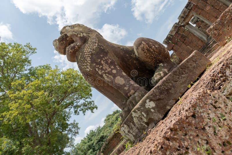 Winkelsicht des Steinlöwes Tempel schützend lizenzfreie stockfotos