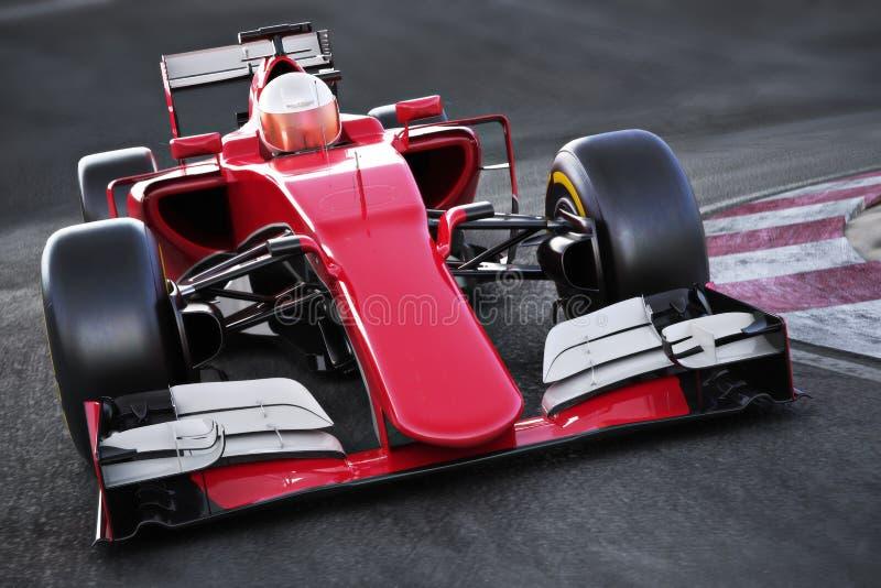 Winkelsicht Motorsportrennwagen Front, die hinunter eine Bahn beschleunigt lizenzfreie abbildung