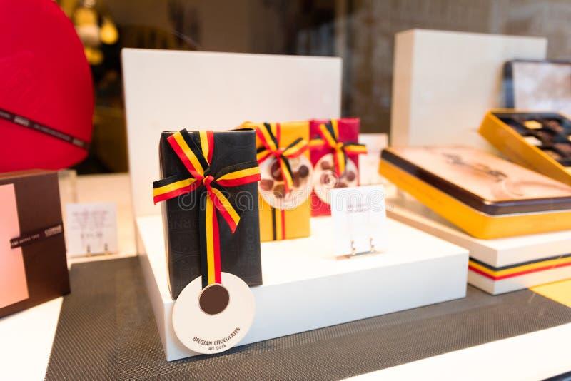 Winkelvenster met Belgische Chocolade royalty-vrije stock foto's