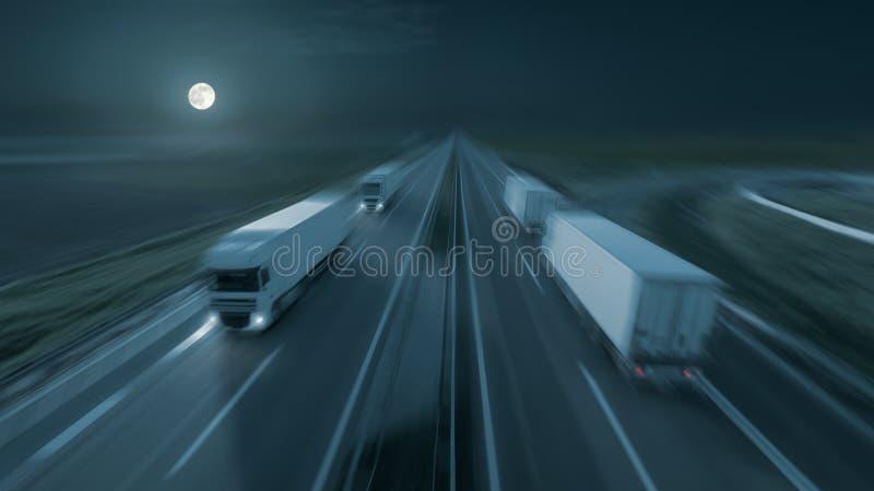 Winken Sie Bild von modernen Lieferwagen auf der Autobahn nachts zu lizenzfreie stockfotografie