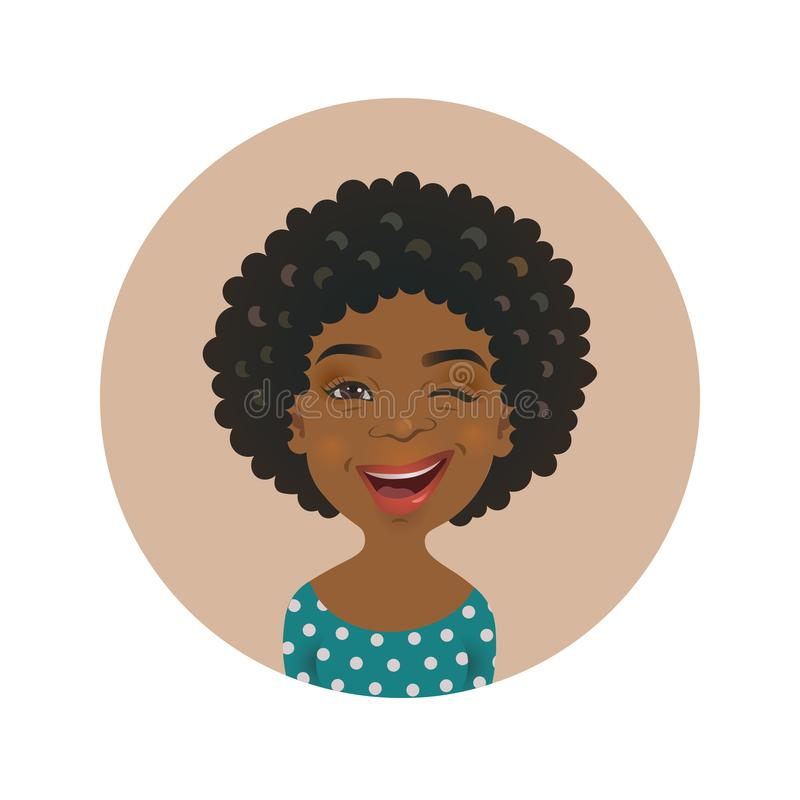 Winking Afro American woman avatar. Playful African face. Cute dark-skinned girl facial expression. stock illustration