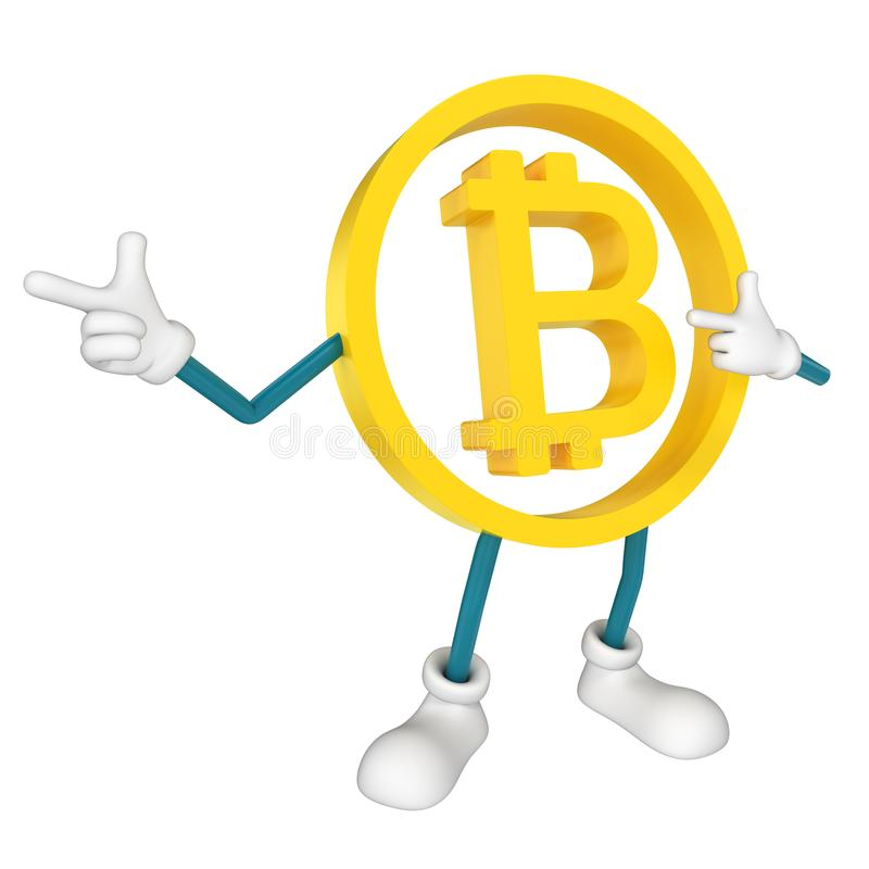 Winking Bitcoin gesturing with his hand. 3D rendering stock illustration