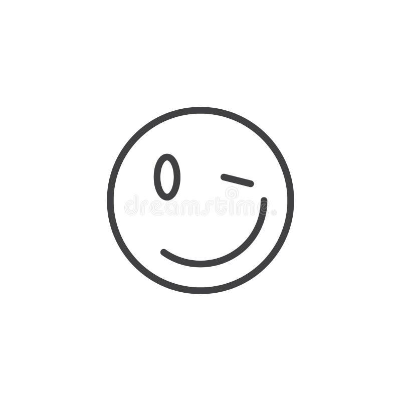 Winking Face emoji line icon. Linear style sign for mobile concept and web design. Wink emoticon outline vector icon. Joke, humor symbol, logo illustration stock illustration